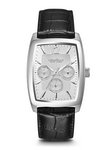 Caravelle New York Men's Black Leather Strap Company Watch