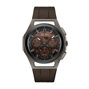 Bulova Watches Mens CURV Chronograph Brown Leather Strap and Dial