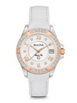 Bulova Watches Ladies Strap - White Leather - Diamond Watch