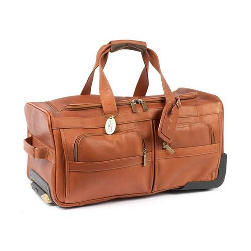 Rolling Leather Duffel Bag Custom Leather Bag