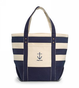Seaside Zippered Cotton Tote Navy Blue Striped