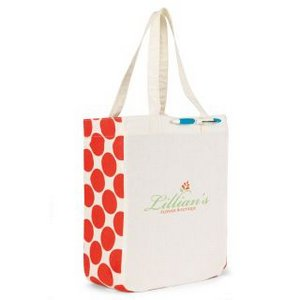 Chelsea Cotton Market Tote Natural/Coral