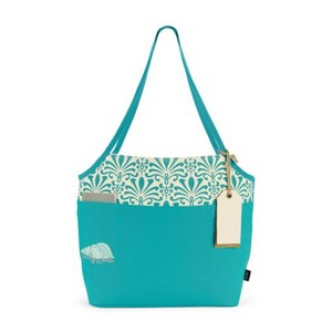 Tori Cotton Fashion Tote Baltic Blue Damask Pattern