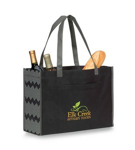 Chevron Non-Woven Shopper Black/Seattle Grey