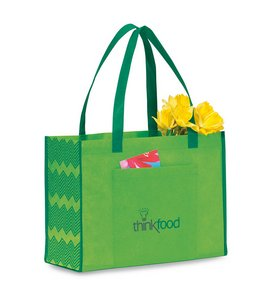 Chevron Non-Woven Shopper Apple Green\Kelly Green
