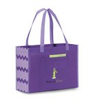 Chevron Non-Woven Shopper Purple & Iris