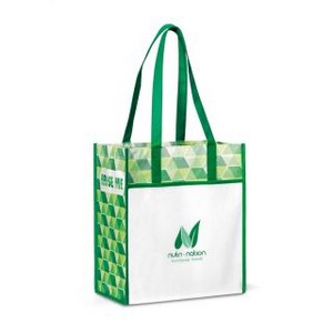 Horizons Laminated Shopper Kelly Green/ Pattern