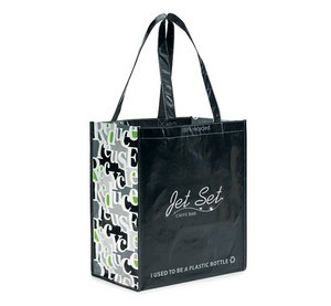 Laminated 100% Recycled Reusable Shopping Bag - Black/Pattern