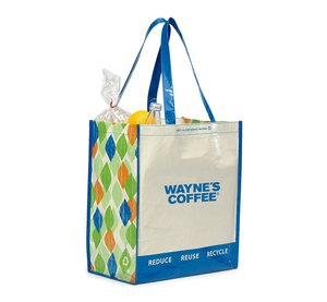 Laminated 100pct Recycled Reusable Shopping Bag - Blue/Pattern