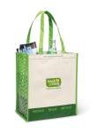 Laminated 100% Recycled Reusable Shopping Bag -Sand/Summer Green