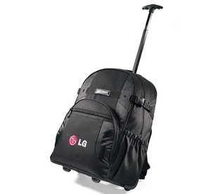 Deluxe Wheeled Computer Laptop Backpack - Black