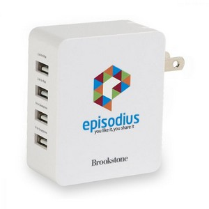 Brookstone 4-Port USB Wall Charger II White