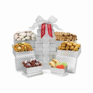 Sunsational Shimmering Sweets and Snacks Gourmet Tower Silver Dia