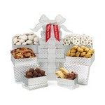 Shimmering Sweets & Snacks Gourmet Tower Silver Diamond Pattern