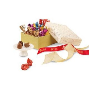 Exceptional Artisan Truffles Gift Box Sparkling White and Gold