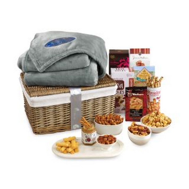 Gourmet Delights Keepsake Basket with Brookstone  Throw Natural-G Custom Logo Blanket