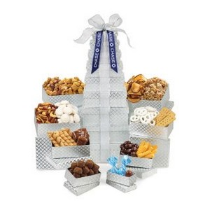 Ultimate Shimmering Sweets & Snacks Gourmet Tower Silver Diamond