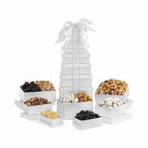Deluxe Shimmering Sweet  Snacks Gourmet Tower Silver Diamond Pat