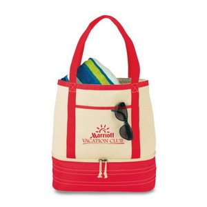 Coastal Cotton Insulated Tote Red/Natural