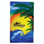Fiber Reactive Color Beach Towel - Beach Scene Towel