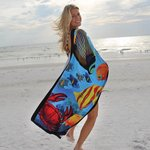 Fiber Reactive Color Beach Towel - Fish Towel