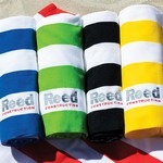 Microfiber Cabana Stripe Beach Towel - Embroidered