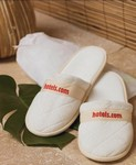 Quilted Velour Slippers in Travel Bag