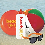 Custom Logo Beach Balls, logo bottles,  Sunglasses and printed flying discs