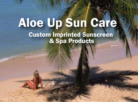 custom printed Aloe Up sunscreen and sun care products