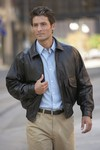 Buffed Leather Bomber Jacket for Men with Logo