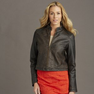 Ladies Retro Custom  Leather Jacket