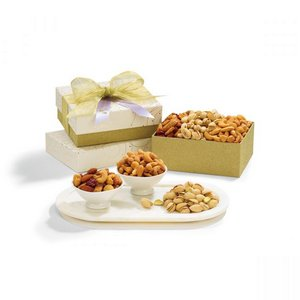 Mixed Nuts Gift Box Sparkling White and Gold
