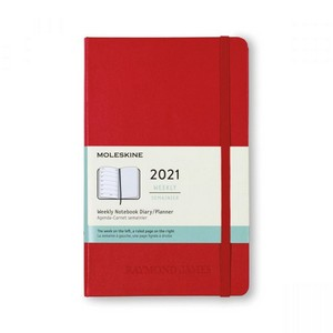 Moleskine Hard Cover Large 12-Month Weekly 2021 Planner - Scarlet Red
