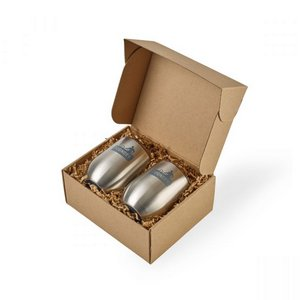 Corkcicle Stemless Wine Cup Gift Set Brushed Steel