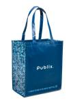 Laminated 100 pct. Recycled Reusable Shopping Bag-Carib. Blue/ Navy