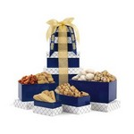 Sunsational Classic Gourmet Treats Tower Navy with White and Gold