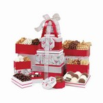 Best of the Season Gourmet Sweets & Treats Tower Red/Silver Pattern