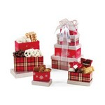 Festive Holiday Sweets Tower Silver and Red Plaid