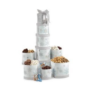 Something For Everyone Gourmet Treats Tower Silver and Blue Snowf