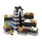 Elegant Gourmet Sweet and Savory Tower - Black and White Stripe