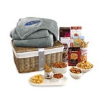 Gourmet Delights Keepsake Basket with Brookstone  Throw Natural-G