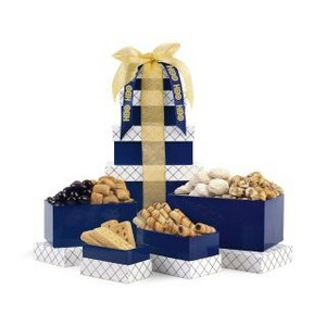 Classic Gourmet Treats Tower Navy White and Gold