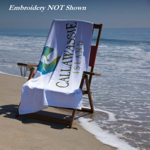 Jewel Collection White Beach Towel -Embroidered