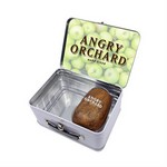 Retro Lunchbox + Single 10oz Stemless Wood Tone Wine Glass In Vac